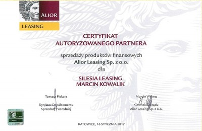 Certyfikat Autoryzowanego Partnera Alior Leasing Sp. z o.o.